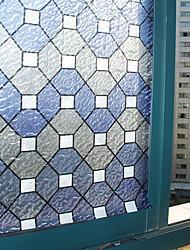 Elegant Classic Blue Geometric Rhobus Pattern Window Film