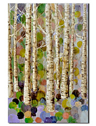 Hand Painted Oil Painting Botanical Birch in Dream with Stretched Frame