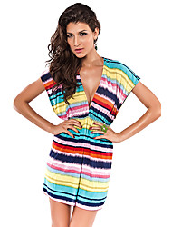 Women's Cover-Ups , Geometric Polyester/Spandex Yellow
