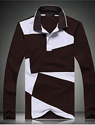 Alta Qualidade Marca Moda manga comprida 100% Algodão Polo shirt dos homens
