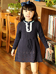 Girl's Dress,Solid Knitwear Winter