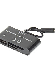 3-in-one Micro USB Memory Card Reader for OTG Mobile Phone (Black)