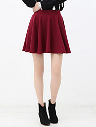 Women's Black/Blue/Gray/Red Skirts , Casual Above Knee
