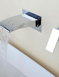 Wall Mounted Waterfall Ceramic Valve Single Handle Two Holes with Chrome Bathroom Sink Faucet