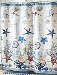 "Shower Curtain Estilo Mediterrâneo Starfish Imprimir W72 ""x L74"""