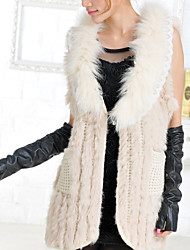 Fur Vest With Sleeveless Shawl Collar Rabbit Fur Party/Casual Vest(More Colors)