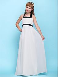 Floor-length Chiffon Junior Bridesmaid Dress - Ivory Sheath/Column Halter