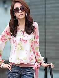 Da Mulher em torno do pescoço da cópia floral Bow Blusa manga comprida Chiffon