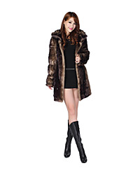 Long Sleeve Hooded Faux Fur Party/Casual Coat(More Colors)