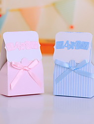 Strip Pattern Favor Boxes With Bow for Baby Shower - Set of 12 (More Colors)