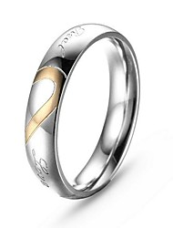 l'anneau en forme de coeur en acier de femmes argent de la mode