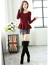 Feminina Clássica Magro Falbala Knitting Sweater