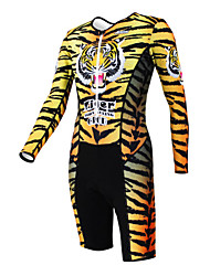 KOOPLUS - Triathlon Tiger Stripes Yellow Long Sleeve Wear and Shorts Conjoined Cycling Clothing