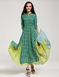 Women's Vintage Swing Dress,Print Crew Neck Maxi ½ Length Sleeve Multi-color Cotton All Seasons / Summer / Winter