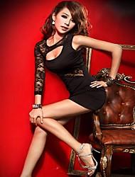 Sexy femmes de la Corée irrégulière dentelle manches Single Sleeve évider Mini robe de partie de robe