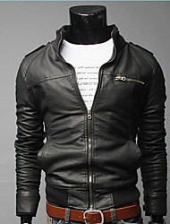 HZLT Short Paragraph Slim  Casual Leather Jacket  Water Washing  Motorcycle Leather (Black)
