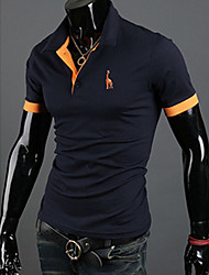 gezi Herrenmode Deer Stickerei Kurzarm Polo Shirt
