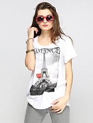 Frauen Eifelturm Printed Long Freizeit Round Kragen Tops T-Shirt