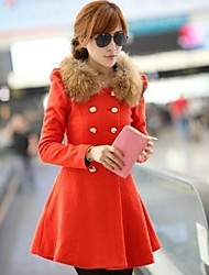 Women's Fur Collar  Woolen Long Trench Coat
