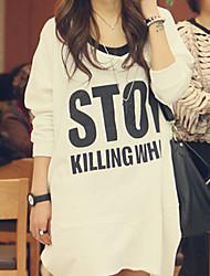 Patrón Loose Fit Carta de Corea de las mujeres vestido largo DOWISI