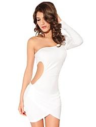 NUOVE signore sexy Vestito monospalla Fashion White Dress Stretch Gonna Tops