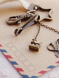 Sewing Machine&Scissor Bronze Keychain