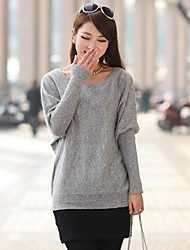 Women's Pure Color Batwing Coat Sweater