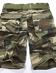 Men's Camouflage Casual Shorts,Cotton Green / Gray