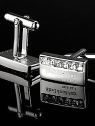 Presente personalizado Retângulo gravada prata Abotoaduras com strass