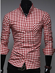 QN Men's England Unique Check Long Sleeve Shirt(Red)