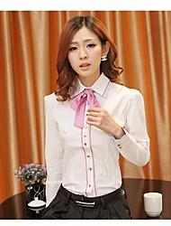 Shirt Primavera Bow Bodycon de manga larga para la Mujer