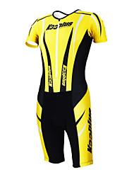 KOOPLUS - Triathlon suit Cycling Clothing Yellow+Black Sleeveless Wear and Shorts Conjoined Cycling Clothing