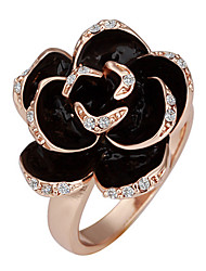 Sweet Women's Gold Gold Plated Rose Statement Rings(Black)(1 Pc)