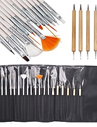 15PCS Painting Brush and 5PCS Bicephalous Dotting Tools Nail Art Set Delicately Packed