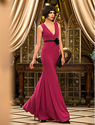 Mermaid / Trumpet V-neck Floor Length Jersey Prom Formal Evening Military Ball Dress with Flower(s) by TS Couture®