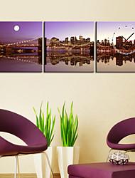 Современный стиль Ночная съемка настенные часы в Canvas 3шт