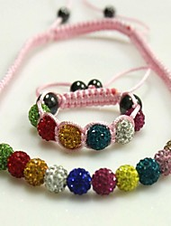 Gift Children's  Adjustable Shamballa Beads Bracelet+Necklace with CZ Crytal Disco Ball