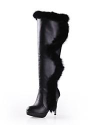 DamenKleid-Pelz Kunstleder-Spulen Absatz-Plateau Modische Stiefel-Schwarz Weiß