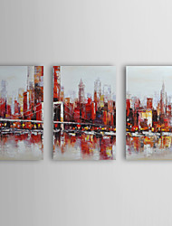 Hand-Painted Landscape Three Panels Canvas Oil Painting For Home Decoration