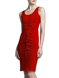 Women's Solid Red Dress , Sexy/Party Round Neck Sleeveless Ruched