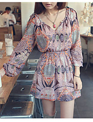 MXFS Sweet Ethnic Style Printing Slim Dress (Multi-Color)