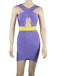 Women's V Neck Hollow Out/Criss-Cross Mini Dress , Spandex/Nylon/Rayon Purple Sexy/Bodycon/Casual/Party