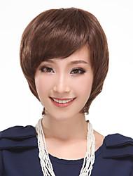 100% Human Hair Side Bangs Capless Short Straight Bob Hair Wig(Medium Brown)