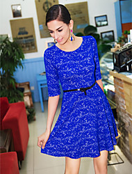 TS Jacquard Bubble Sleeves Knit Dress(Belt Inc.)