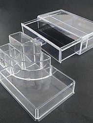 acrylique transparent complexe combiné à double stockage des cosmétiques de couche avec tiroir organisateur cosmétique