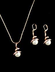Fashion Gold Alloy&Imitation Pearl(Includs Necklace&Earrings)Jewelry Set(White)
