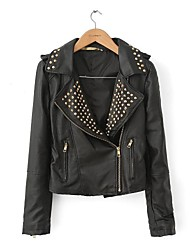 Women's Casual Slim Motorcycle PU Leather Jackets With Rivets