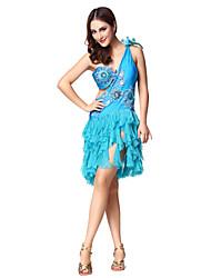 Dancewear Women's Amazing Borduren Bloem Kralen Ruglooze Polyester Latin Dance jurk (meer kleuren)