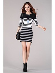 Women's Striped Black/Red Dress , Casual/Plus Sizes Round Neck ½ Length Sleeve