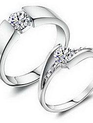 Sweet Unisex Silver Rhinestone Couple Rings(1 Pair) /Promis Rings For Couples
